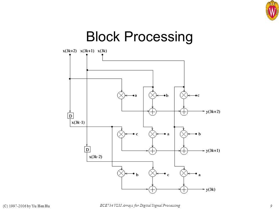9 ECE734 VLSI Arrays for Digital Signal Processing (C) 1997-2006 by Yu Hen Hu Block Processing