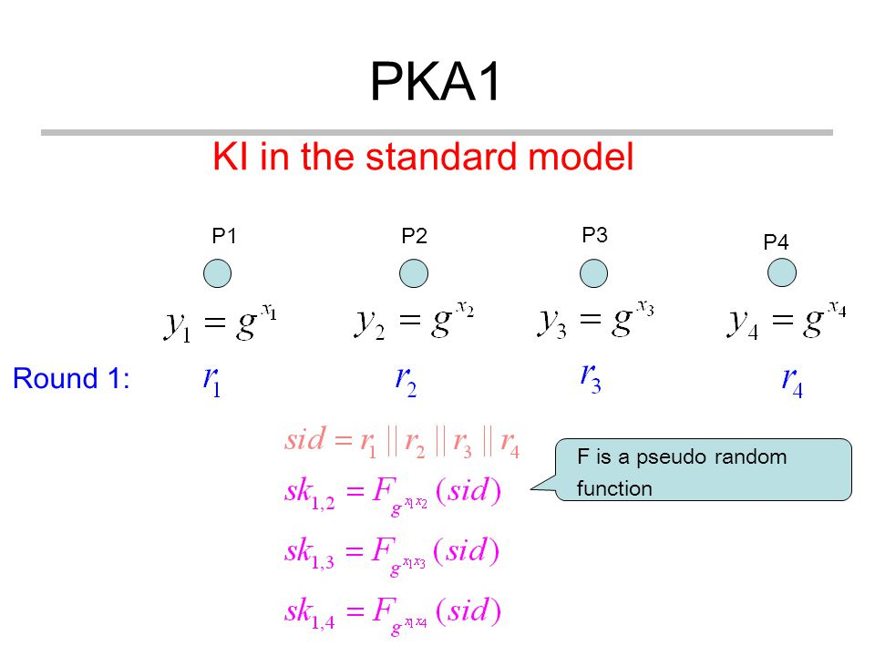 PKA1 P1 P4 P3 P2 Round 1: KI in the standard model F is a pseudo random function