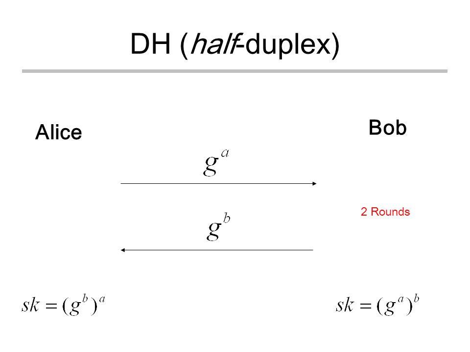 DH (half-duplex) Alice Bob 2 Rounds