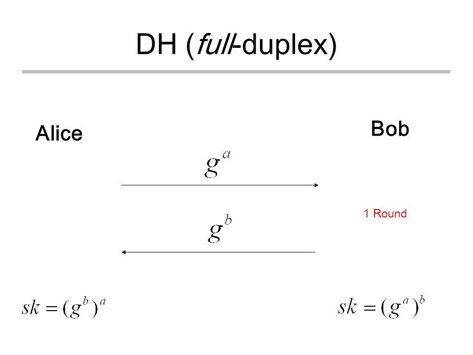 DH (full-duplex) Alice Bob 1 Round