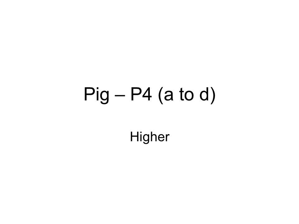 Pig – P4 (a to d) Higher