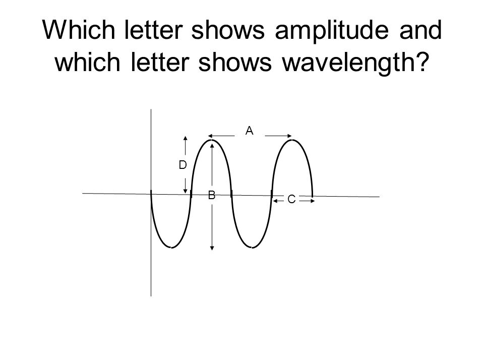 Which letter shows amplitude and which letter shows wavelength? A B C D