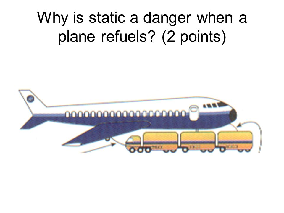 Why is static a danger when a plane refuels? (2 points)