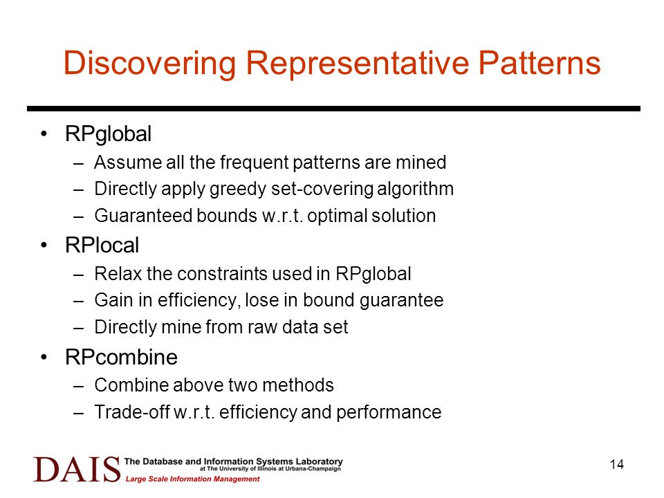 14 Discovering Representative Patterns RPglobal –Assume all the frequent patterns are mined –Directly apply greedy set-covering algorithm –Guaranteed bounds w.r.t.