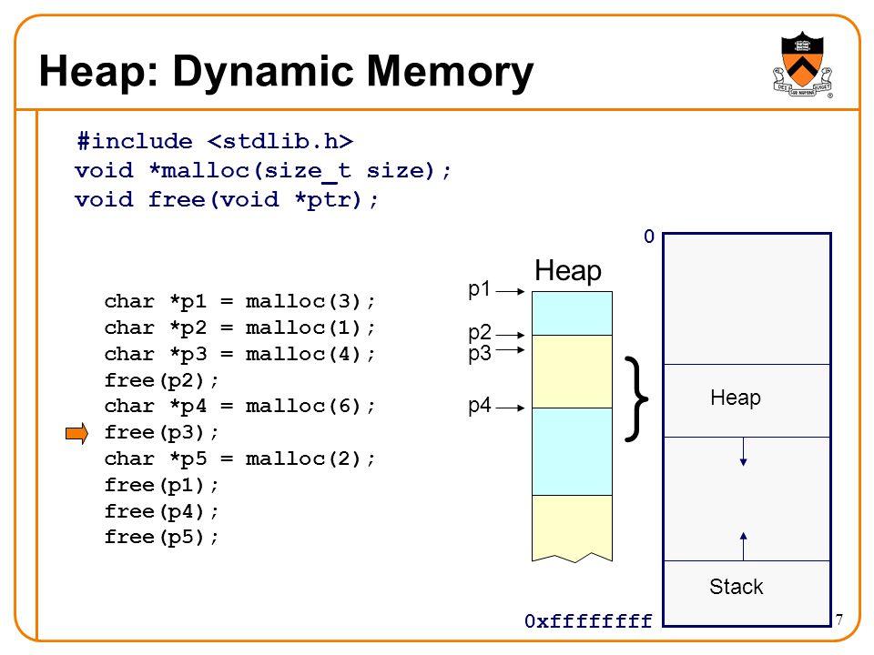 17 Heap: Dynamic Memory #include void *malloc(size_t size); void free(void *ptr); 0 0xffffffff Stack } Heap char *p1 = malloc(3); char *p2 = malloc(1)