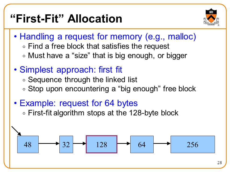 """28 """"First-Fit"""" Allocation Handling a request for memory (e.g., malloc)  Find a free block that satisfies the request  Must have a """"size"""" that is big"""