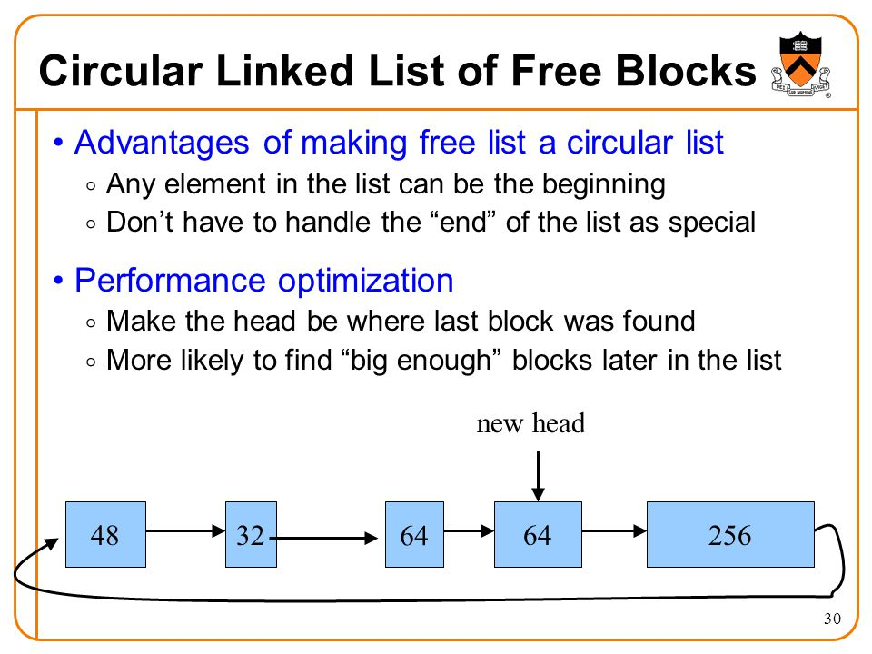 30 Circular Linked List of Free Blocks Advantages of making free list a circular list  Any element in the list can be the beginning  Don't have to h