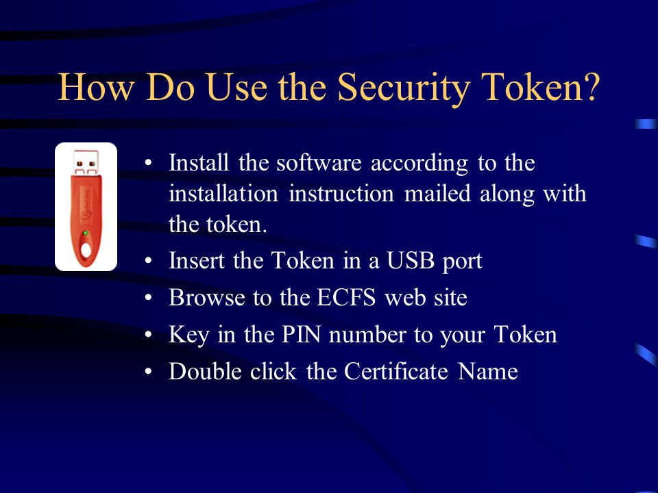 How Do Use the Security Token.
