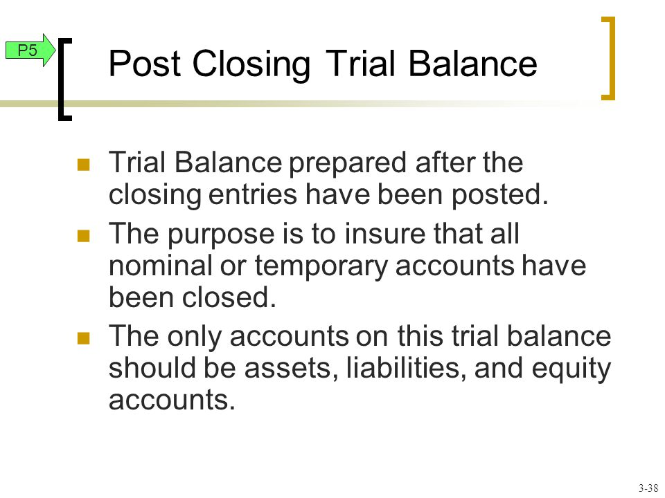 Post Closing Trial Balance Trial Balance prepared after the closing entries have been posted.