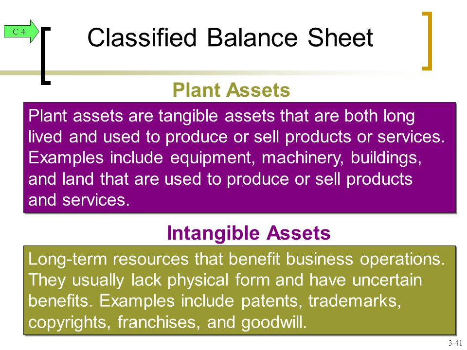 Classified Balance Sheet Plant Assets Plant assets are tangible assets that are both long lived and used to produce or sell products or services.