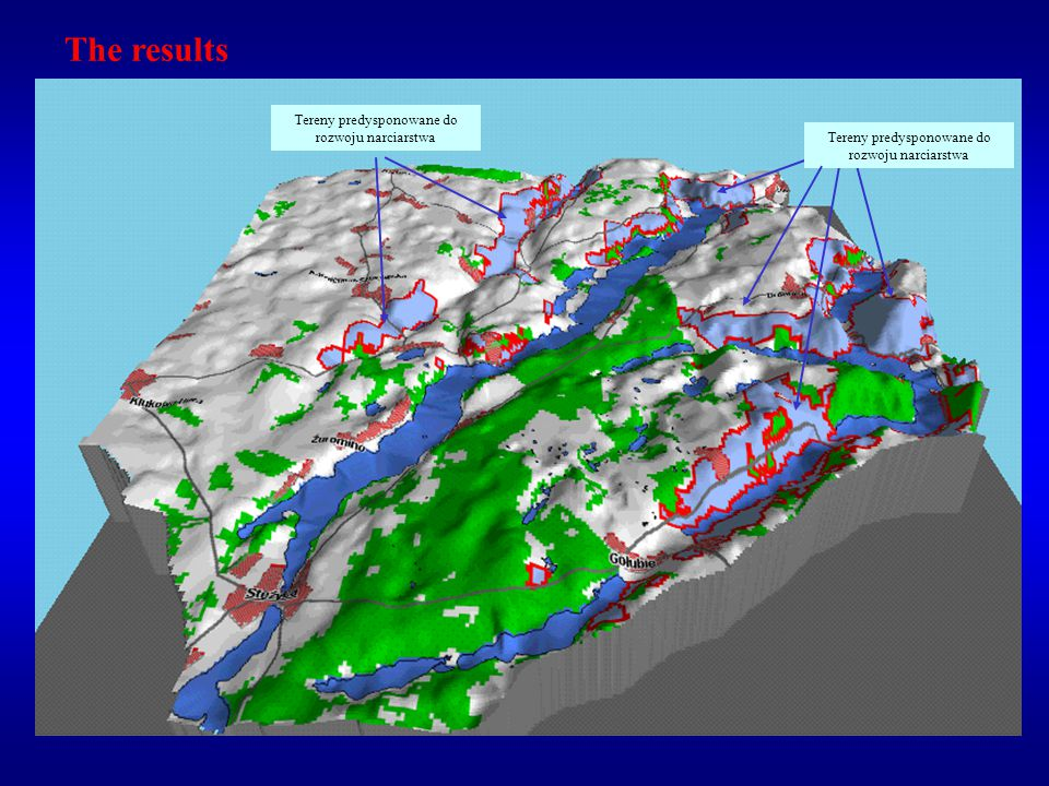 As the result, 5 potential skiing areas (fulfilling all conditions listed above) were delimited.