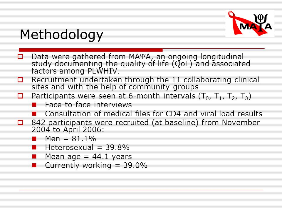 Methodology  Data were gathered from MAA, an ongoing longitudinal study documenting the quality of life (QoL) and associated factors among PLWHIV.