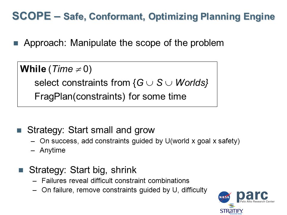 SCOPE – Safe, Conformant, Optimizing Planning Engine Approach: Manipulate the scope of the problem While (Time  0) select constraints from {G  S  Worlds} FragPlan(constraints) for some time Strategy: Start small and grow –On success, add constraints guided by U(world x goal x safety) –Anytime Strategy: Start big, shrink –Failures reveal difficult constraint combinations –On failure, remove constraints guided by U, difficulty