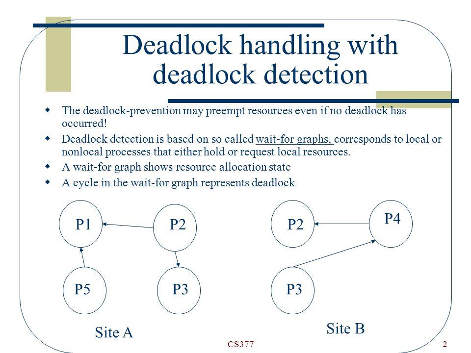 CS3772 Deadlock handling with deadlock detection  The deadlock-prevention may preempt resources even if no deadlock has occurred.