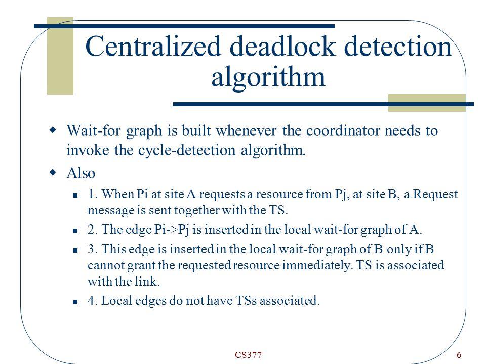 CS3776 Centralized deadlock detection algorithm  Wait-for graph is built whenever the coordinator needs to invoke the cycle-detection algorithm.