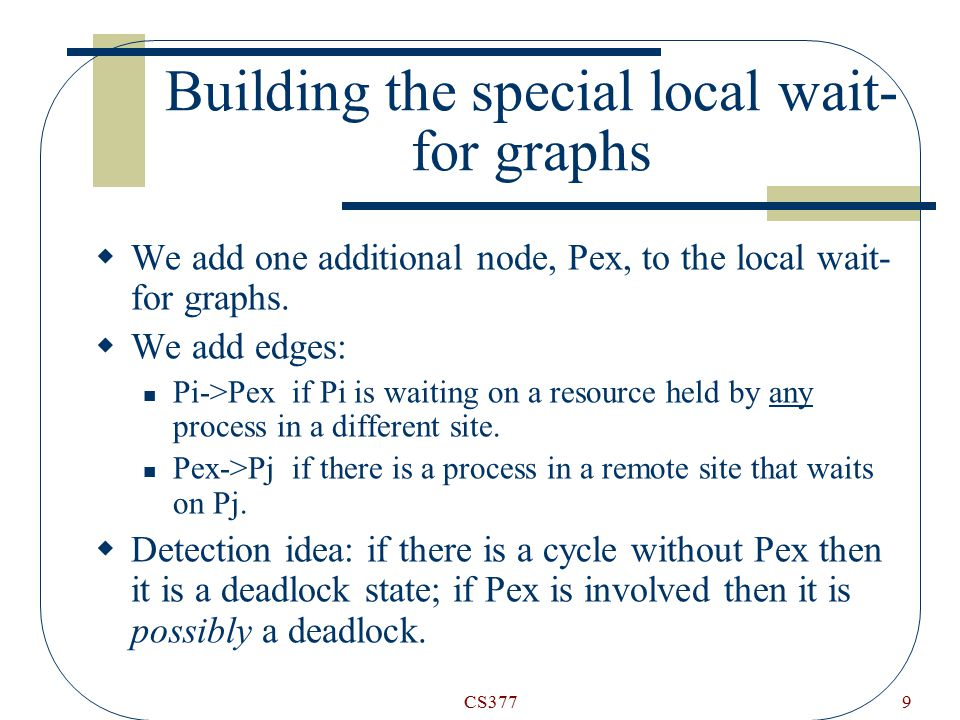 CS3779 Building the special local wait- for graphs  We add one additional node, Pex, to the local wait- for graphs.