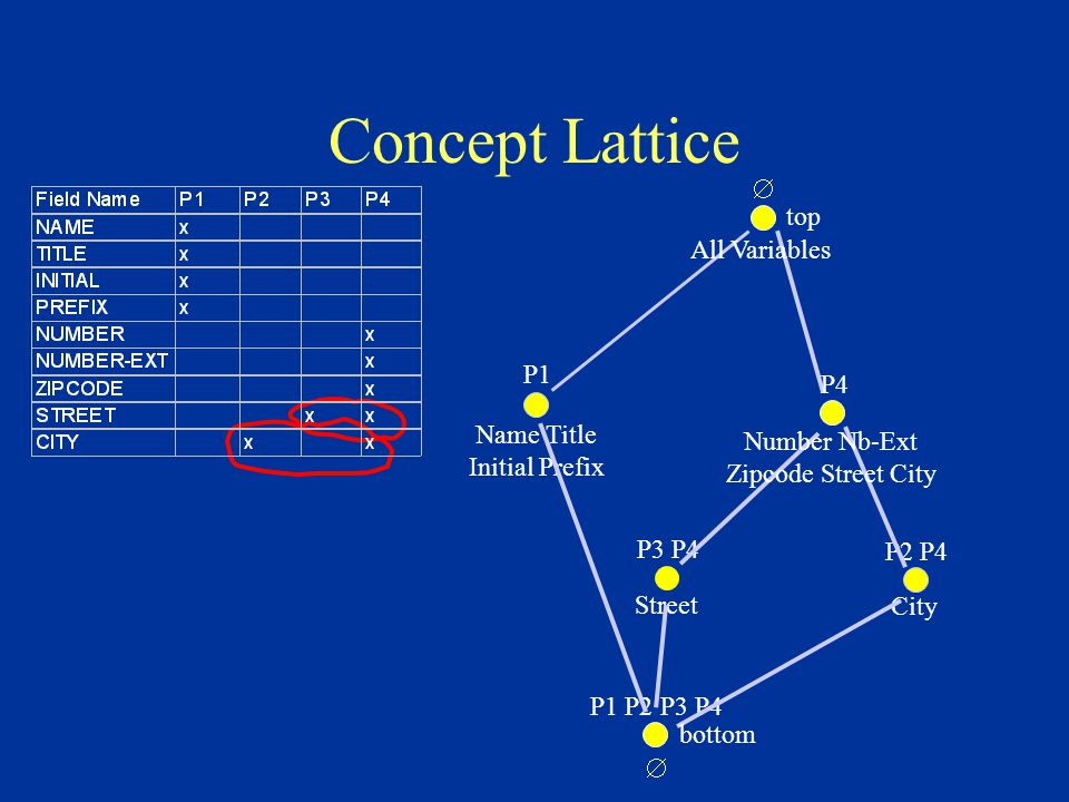 Concept Lattice  top P1 Name Title Initial Prefix P4 Number Nb-Ext Zipcode Street City P1 P2 P3 P4  bottom All Variables