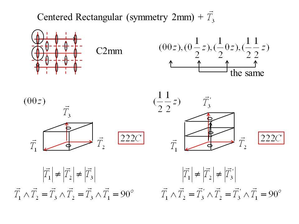 Centered Rectangular (symmetry 2mm) + C2mm the same