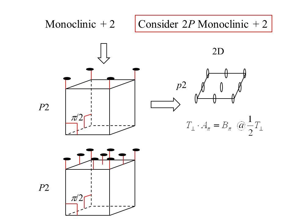 Monoclinic + 2 P2P2 p2p2 2D Consider 2P Monoclinic + 2  /2 P2P2