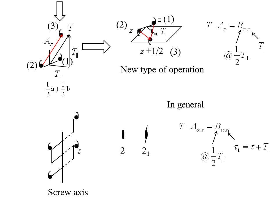z z z +1/2 New type of operation 2 Screw axis (1) (2) (3) (1) (2) (3) 2121 In general