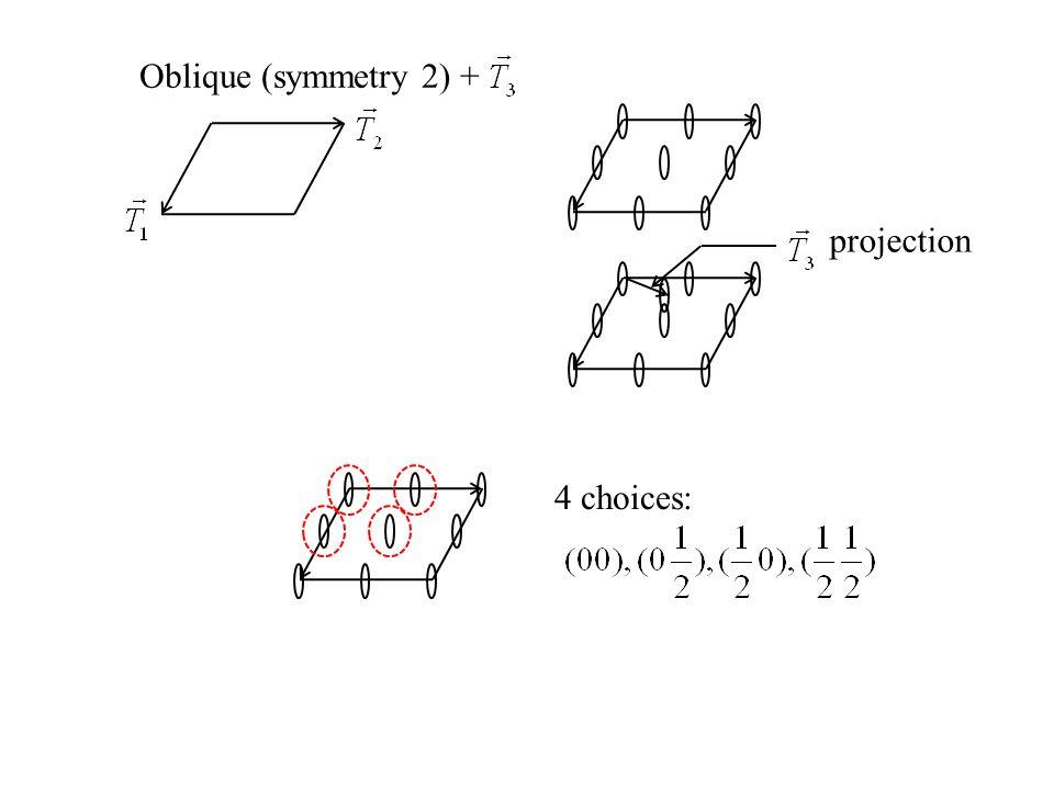 Oblique (symmetry 2) + projection 4 choices:
