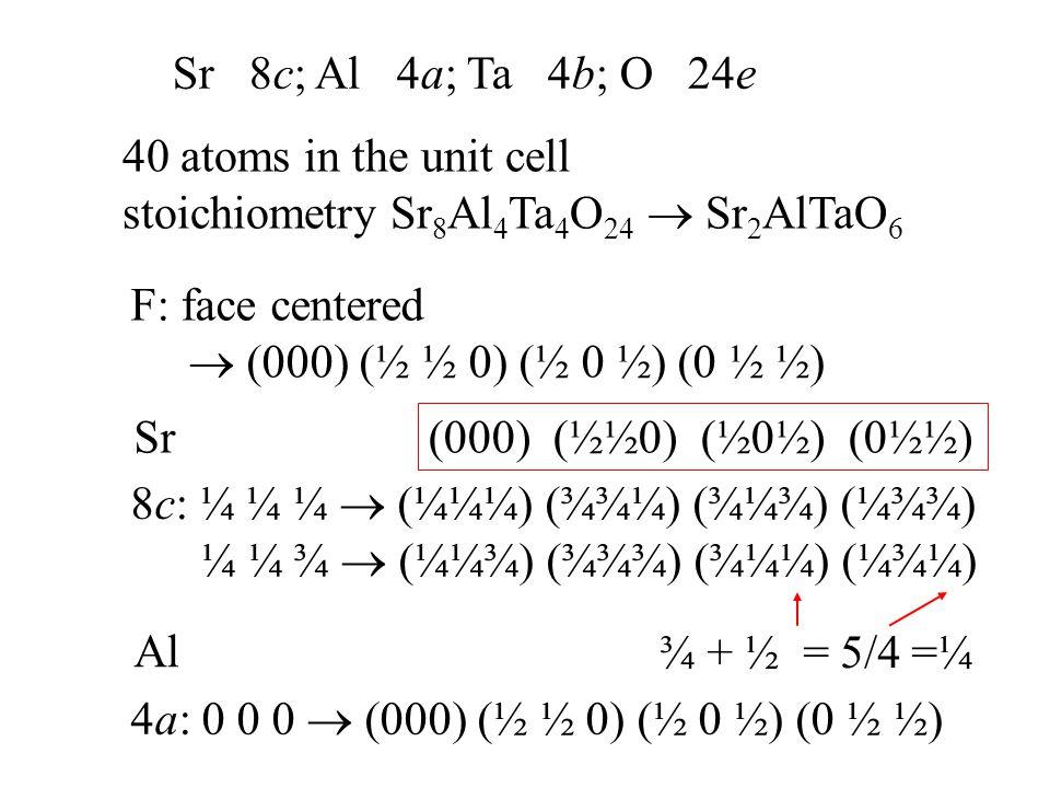 Sr 8c; Al 4a; Ta 4b; O 24e 40 atoms in the unit cell stoichiometry Sr 8 Al 4 Ta 4 O 24  Sr 2 AlTaO 6 F: face centered  (000) (½ ½ 0) (½ 0 ½) (0 ½ ½)
