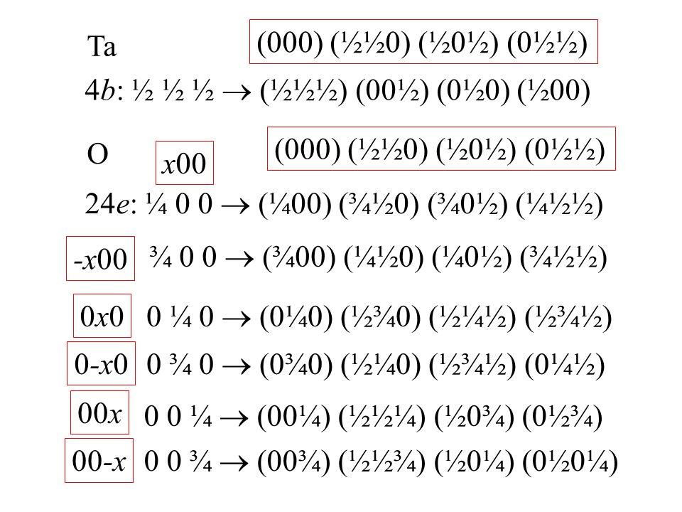 Ta 4b: ½ ½ ½  (½½½) (00½) (0½0) (½00) O 24e: ¼ 0 0  (¼00) (¾½0) (¾0½) (¼½½) (000) (½½0) (½0½) (0½½) ¾ 0 0  (¾00) (¼½0) (¼0½) (¾½½) x00 -x00 0 ¼ 0 