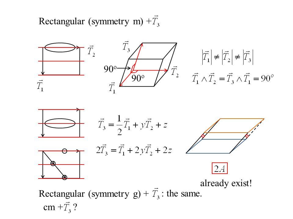 Rectangular (symmetry m) + 90 o Rectangular (symmetry g) + : the same. cm + ? already exist!