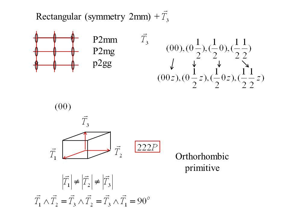 Rectangular (symmetry 2mm) + P2mm P2mg p2gg Orthorhombic primitive
