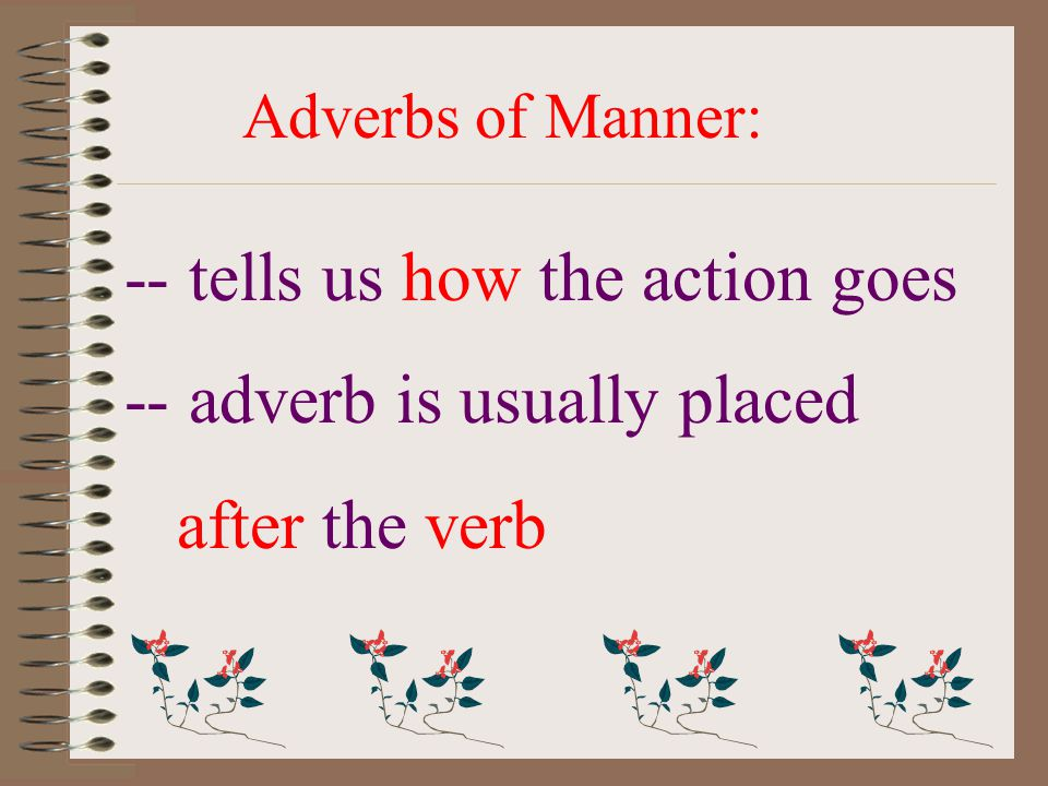 Adverbs of Manner: -- tells us how the action goes -- adverb is usually placed after the verb