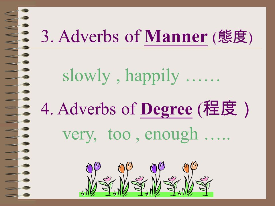 3. Adverbs of Manner ( 態度 ) slowly, happily …… 4. Adverbs of Degree ( 程度) very, too, enough …..