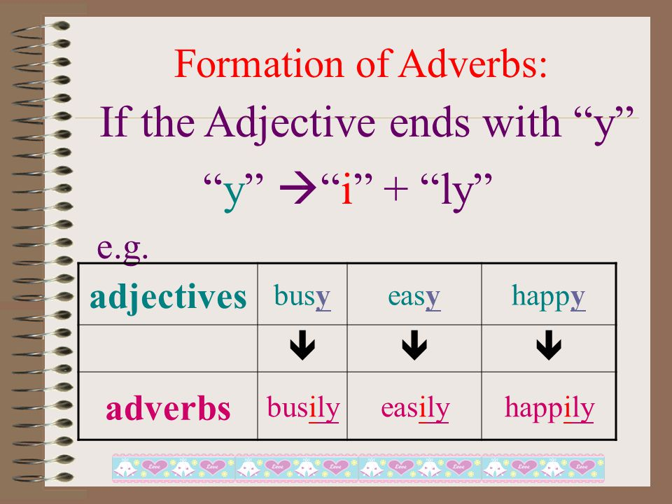 Formation of Adverbs: If the Adjective ends with le e.g.