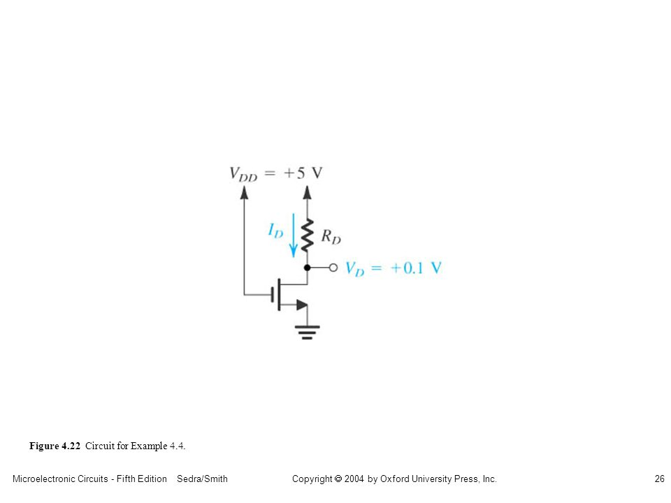Copyright  2004 by Oxford University Press, Inc. Microelectronic Circuits - Fifth Edition Sedra/Smith26 Figure 4.22 Circuit for Example 4.4.