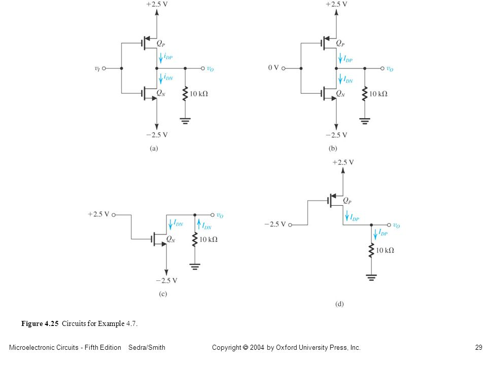 Copyright  2004 by Oxford University Press, Inc. Microelectronic Circuits - Fifth Edition Sedra/Smith29 Figure 4.25 Circuits for Example 4.7.