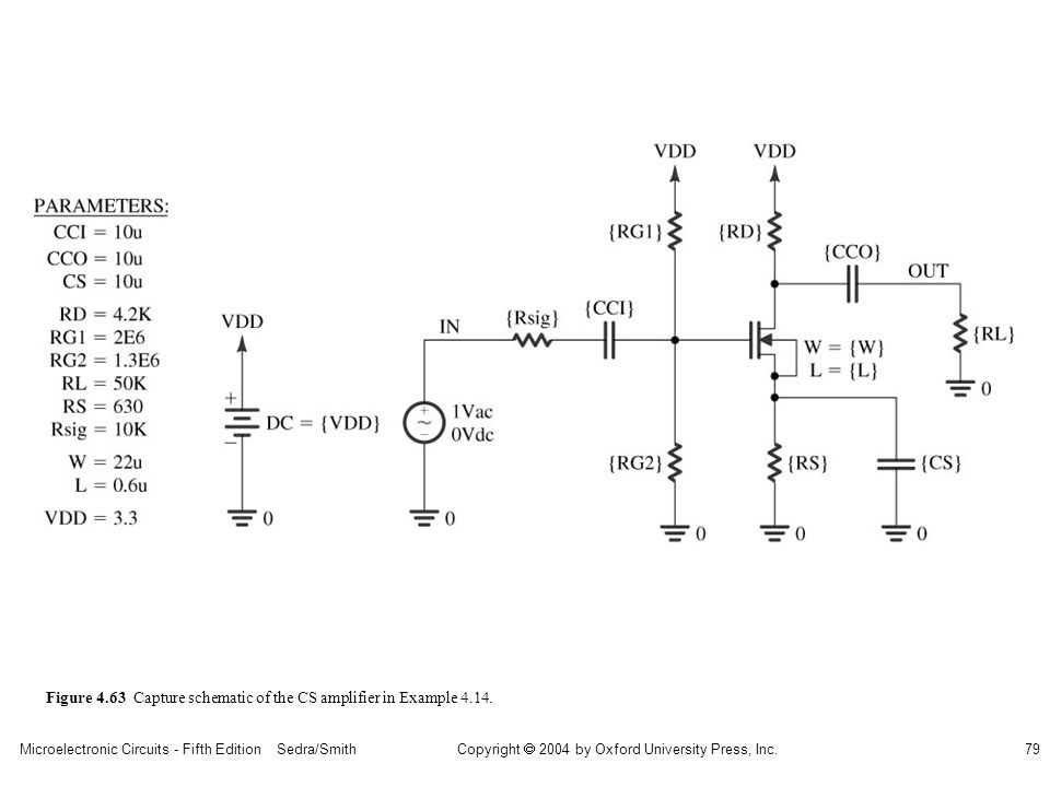 Copyright  2004 by Oxford University Press, Inc. Microelectronic Circuits - Fifth Edition Sedra/Smith79 Figure 4.63 Capture schematic of the CS ampli