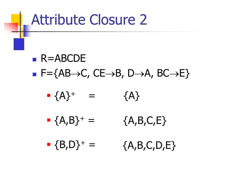 R=ABCDE F={AB  C, CE  B, D  A, BC  E} Attribute Closure 2  {A} + =  {A,B} + =  {B,D} + = {A} {A,B,C,E} {A,B,C,D,E}