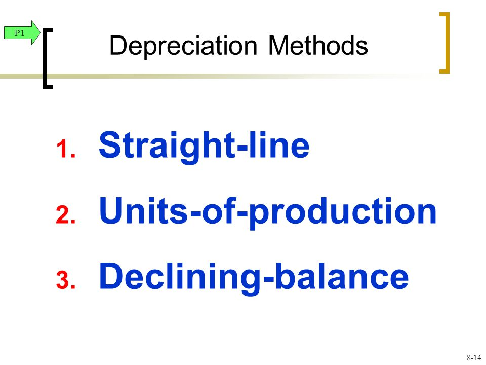 1. Straight-line 2. Units-of-production 3. Declining-balance Depreciation Methods P1 8-14
