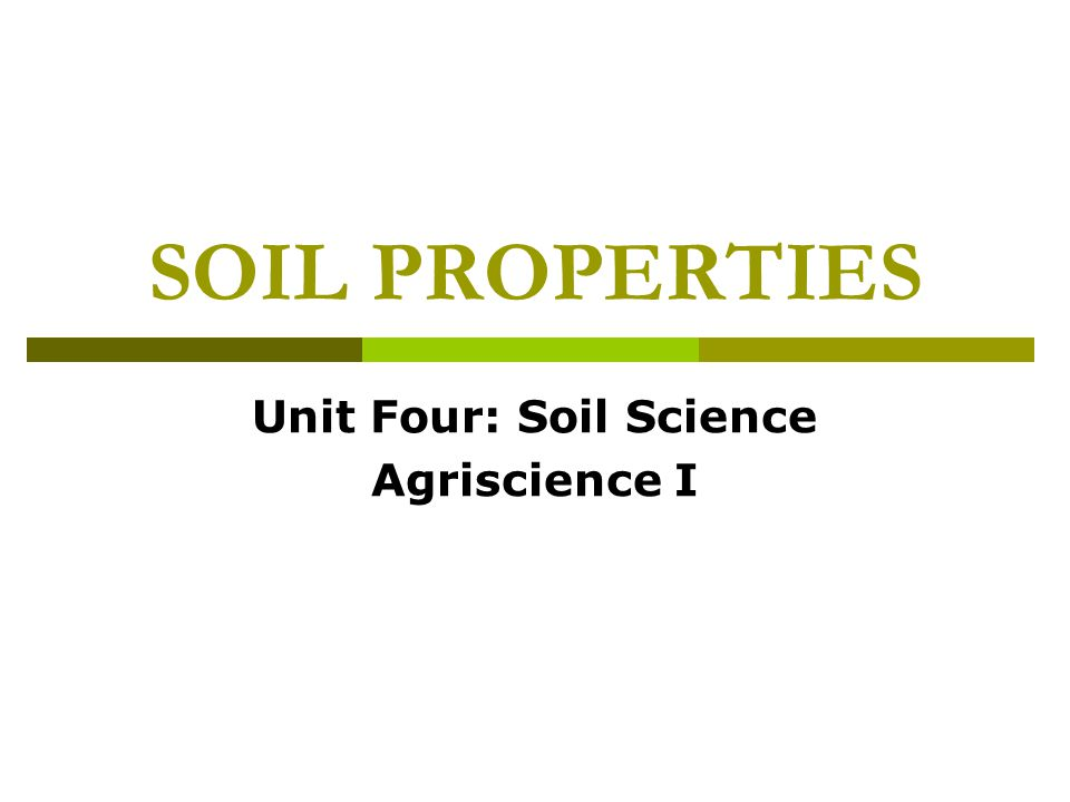 Internal Soil Drainage  important for proper plant growth  Permeability can be determined by the color of the subsoil.
