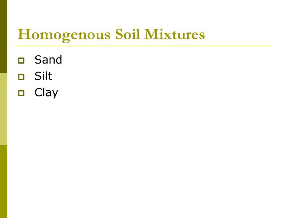 Homogenous Soil Mixtures  Sand  Silt  Clay
