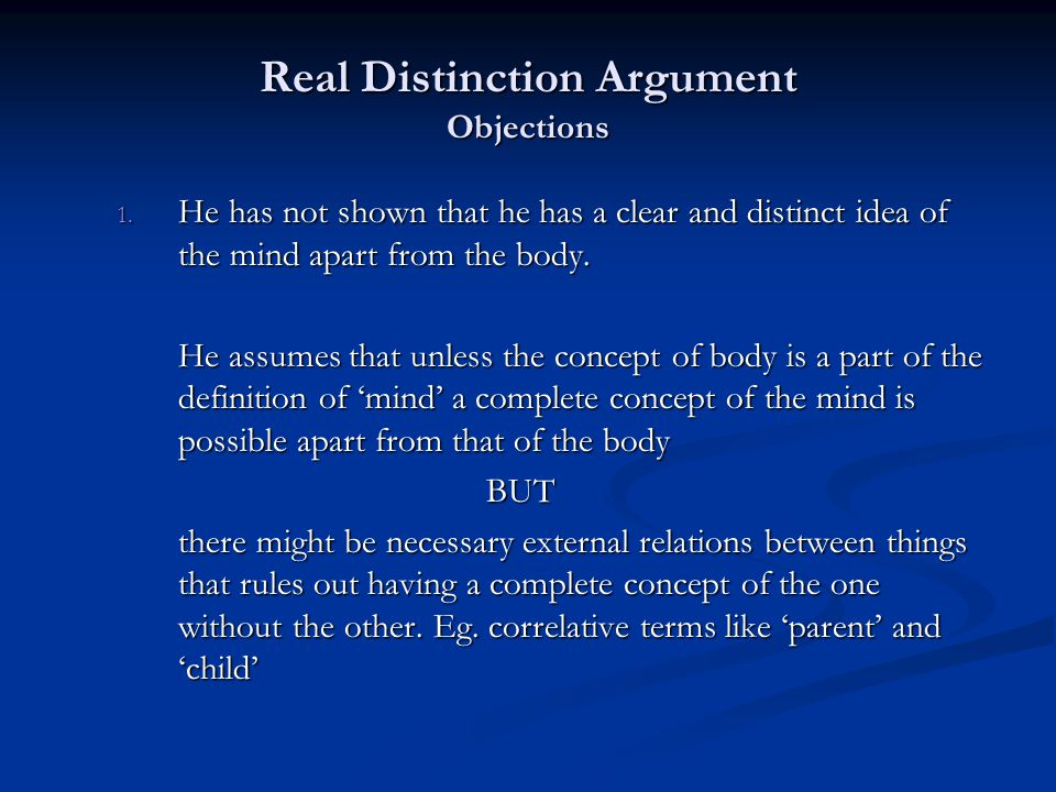 Real Distinction Argument Objections 1.