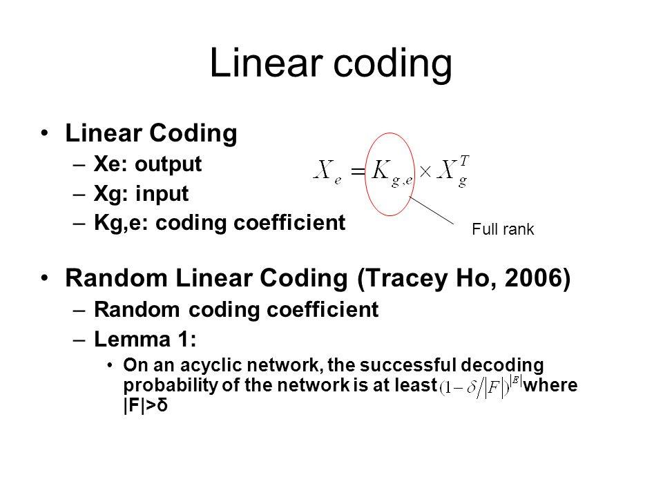 Linear coding Linear Coding –Xe: output –Xg: input –Kg,e: coding coefficient Random Linear Coding (Tracey Ho, 2006) –Random coding coefficient –Lemma