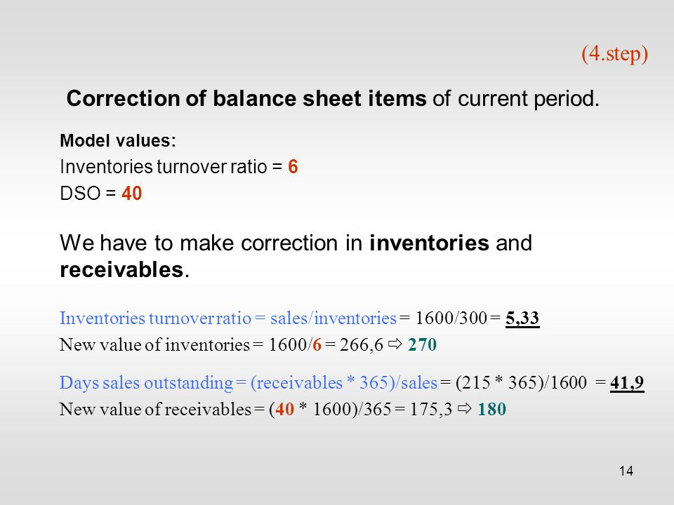 14 (4.step) Correction of balance sheet items of current period.