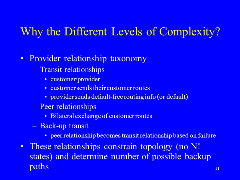 11 Why the Different Levels of Complexity.