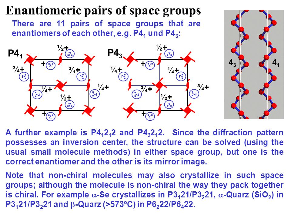 Enantiomeric pairs of space groups There are 11 pairs of space groups that are enantiomers of each other, e.g.