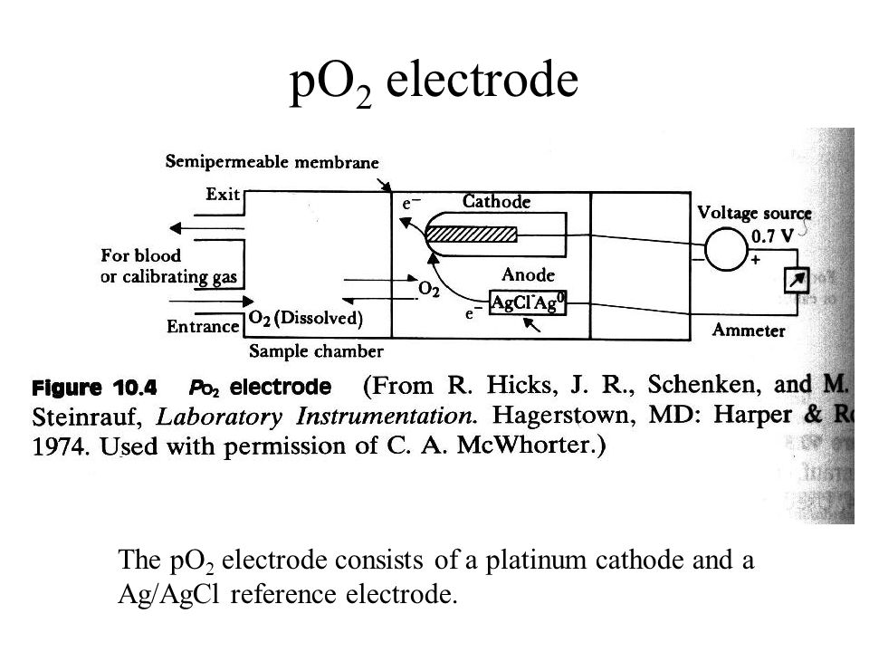 pO 2 electrode The pO 2 electrode consists of a platinum cathode and a Ag/AgCl reference electrode.