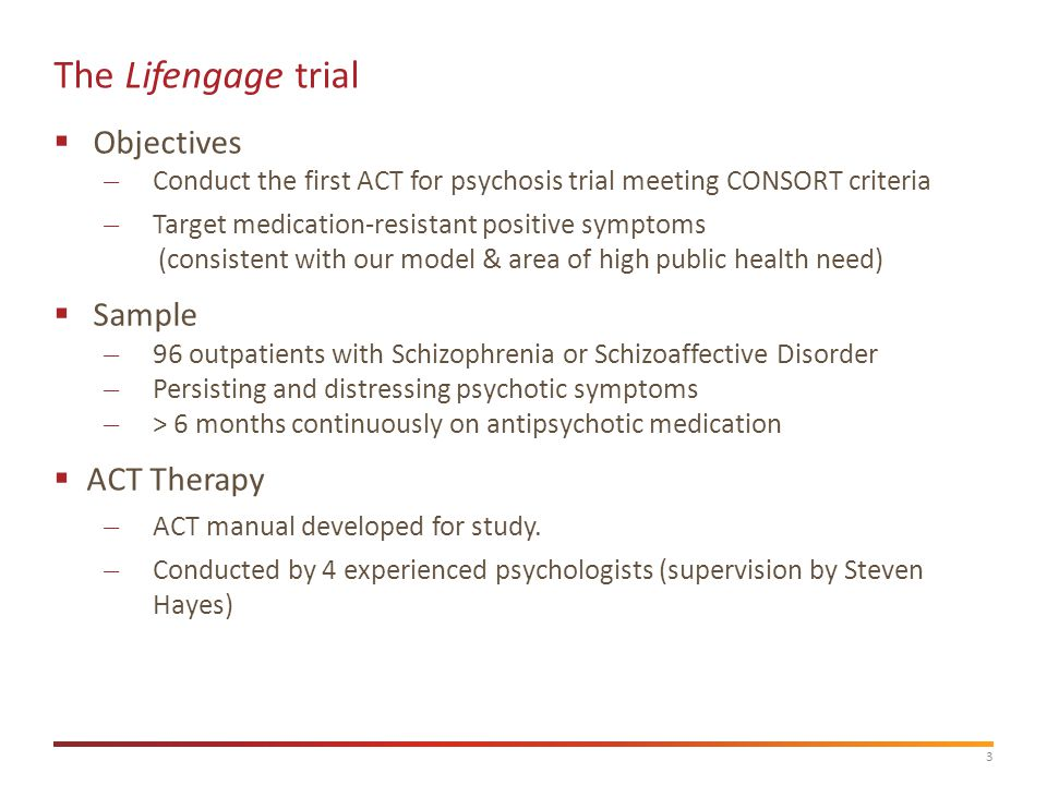 4 Lifengage Study Design Current status: Main analyses still underway… Baseline Ass't T2 Ass't Befriending therapy - 8 sessions ACT therapy - 8 sessions Randomise T3 Ass't 3-4 months6 months In-session verbal behaviour study Sessions 3,5,7 Optional i/v Subjective experience of therapy study Treatment As Usual 'TAU'