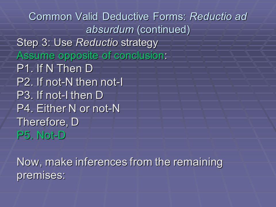 Common Valid Deductive Forms: Reductio ad absurdum (continued) P1.