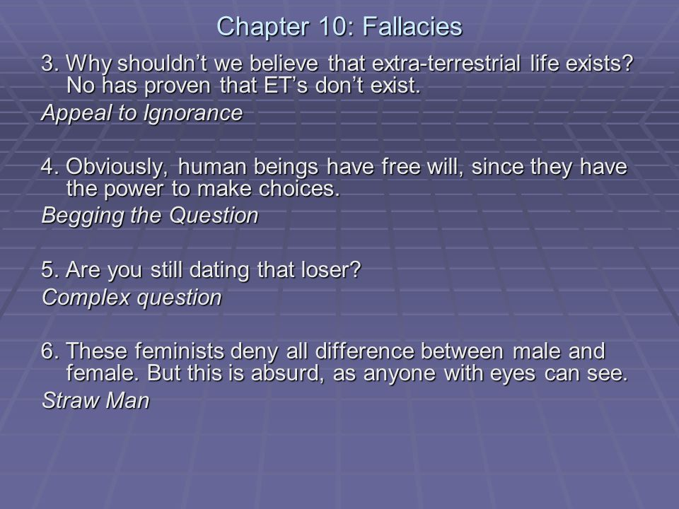 Chapter 10: Fallacies 3. Why shouldn't we believe that extra-terrestrial life exists.