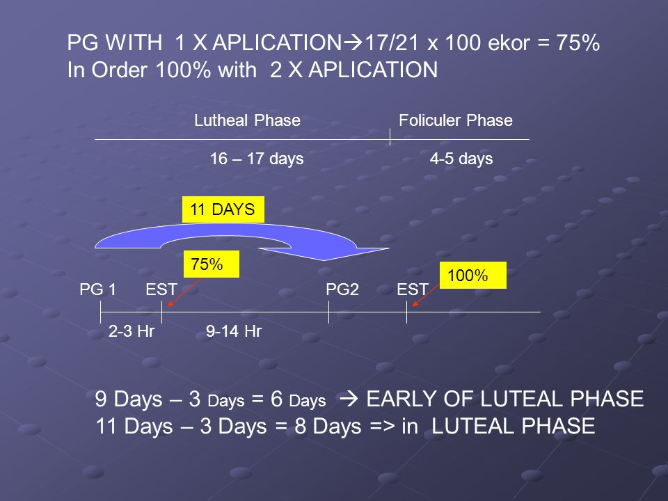 Lutheal Phase Foliculer Phase 16 – 17 days 4-5 days PG WITH 1 X APLICATION  17/21 x 100 ekor = 75% In Order 100% with 2 X APLICATION PG 1 EST PG2 EST 2-3 Hr 9-14 Hr 75% 100% 9 Days – 3 Days = 6 Days  EARLY OF LUTEAL PHASE 11 Days – 3 Days = 8 Days => in LUTEAL PHASE 11 DAYS
