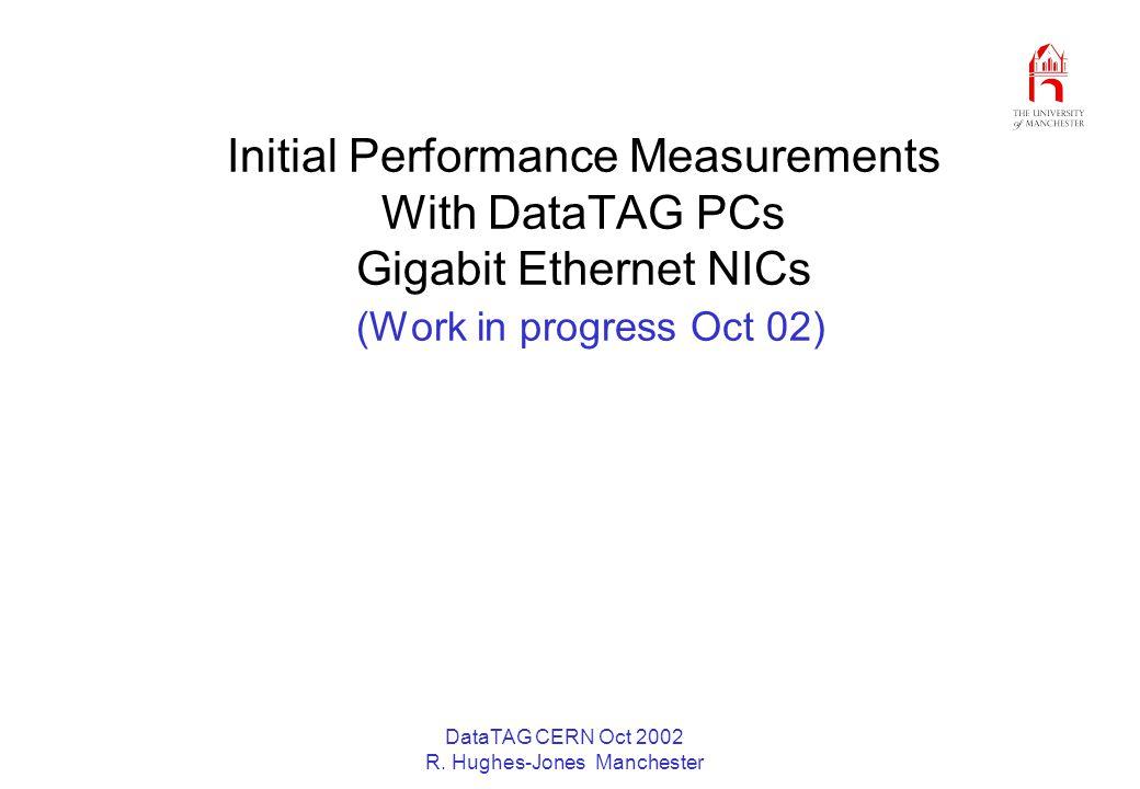DataTAG CERN Oct 2002 R. Hughes-Jones Manchester Initial Performance Measurements With DataTAG PCs Gigabit Ethernet NICs (Work in progress Oct 02)